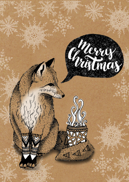kraft paper card, greetings cards, fox illustration, coffee fox, fox with drink, ,zentangle illustration, outline illustration, animal illustration, christmas card design, print designer, freelance designer, textile designer, freelance illustrator