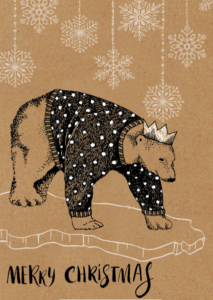 handmade christmas card, christmas illustration, polar bear illustration, patterned polar bear, animal illustration, animals in clothes, christmas animal