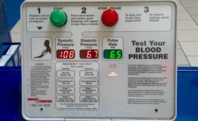 Blood pressure testing result