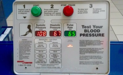 Blood pressure testing result