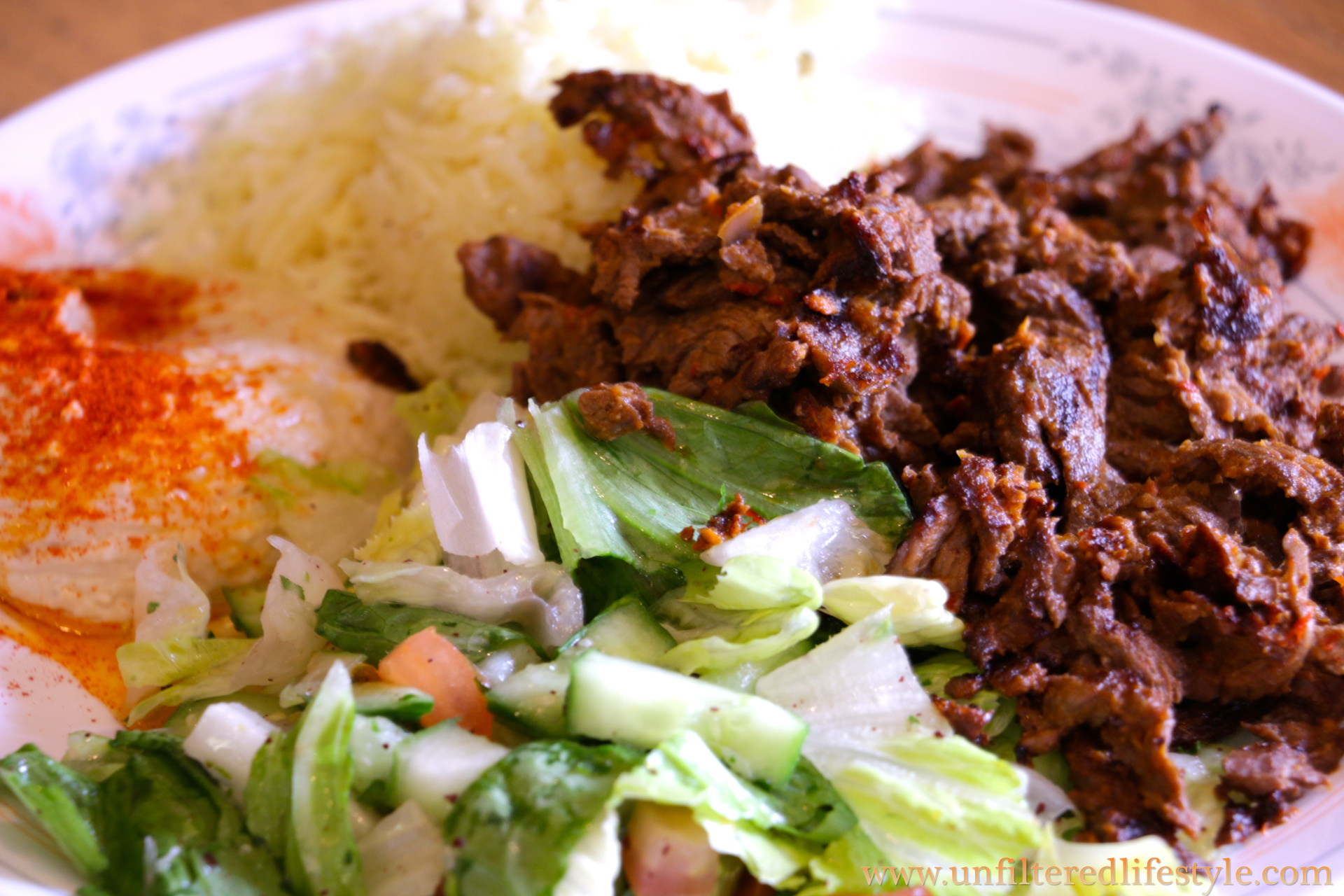 The signature dish, beef shawarma plate, my boy's favorite at Baba's Kitchen.