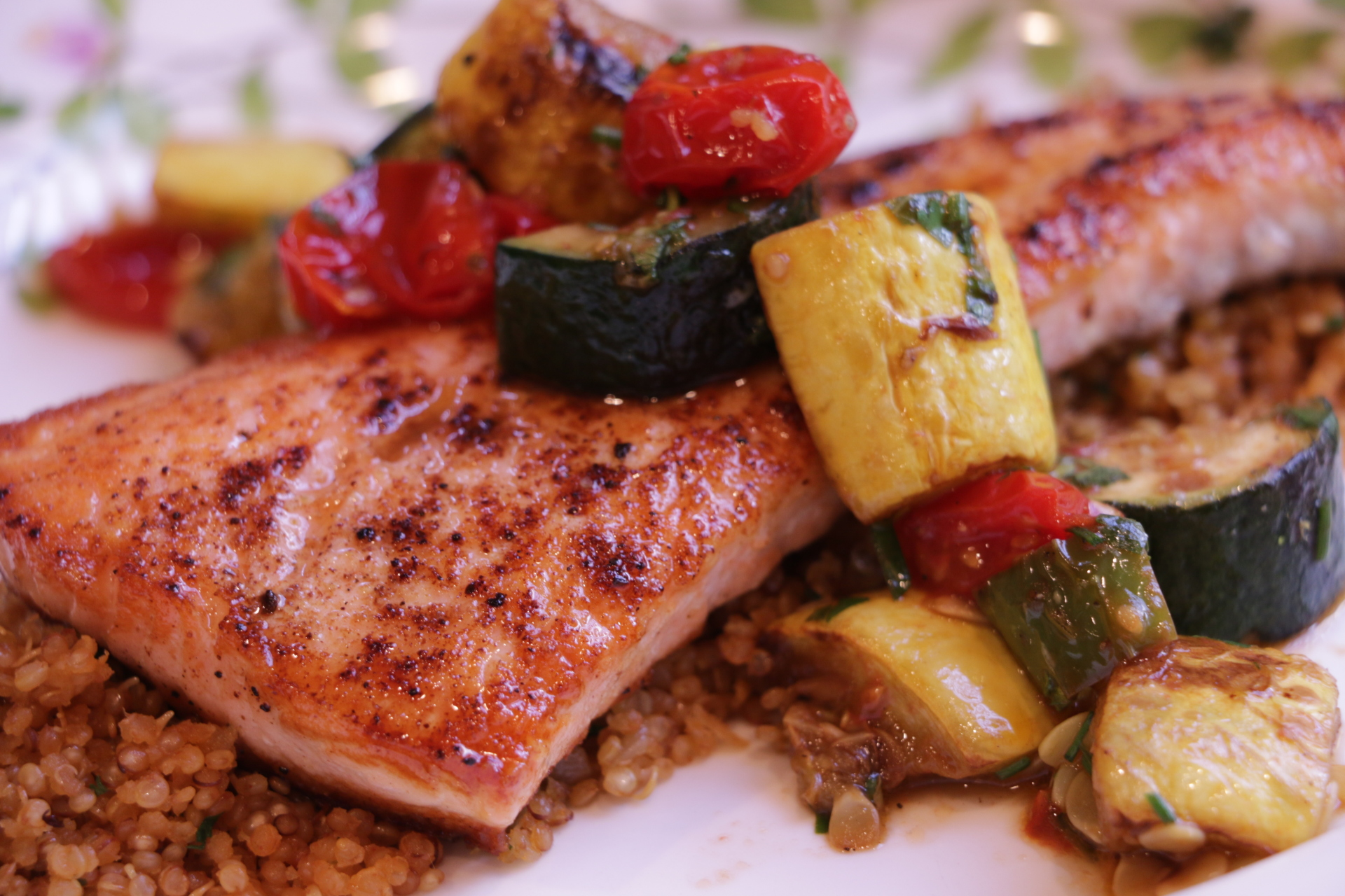 Dinner is Served - Costco's Atlantic Salmon with Sauteed Vegetables and Quinoa