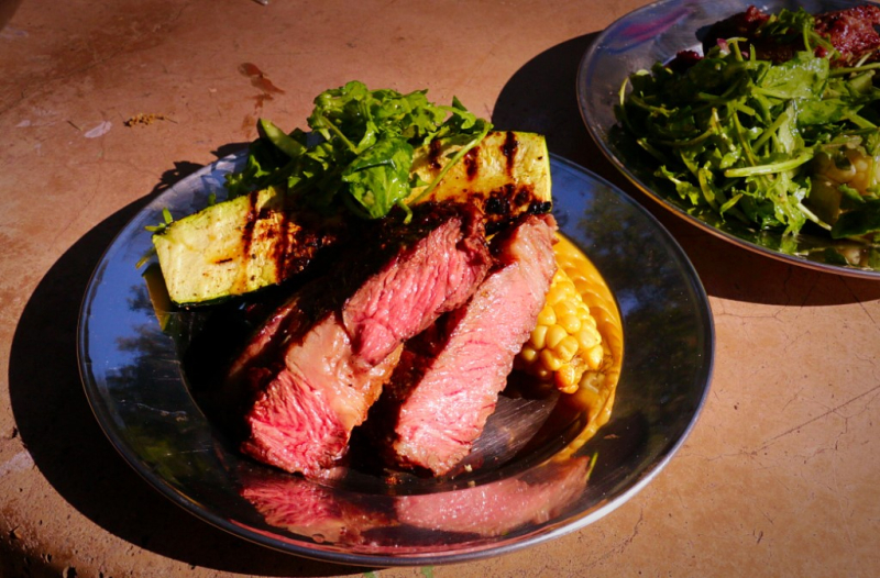 Camping Food: Steak, Corn, Zucchini and Salad