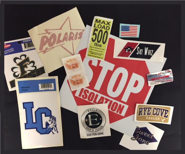 Indoor and Outdoor durable decals and stickers of all shapes, sizes and quantities!