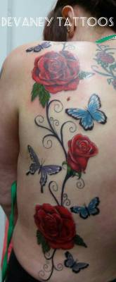 Roses and butterfly piece