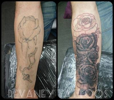 on going cover up , has had laser to lighten old tattoo so cover doesnt have to be so dark