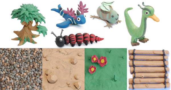 Clay monsters and tiles