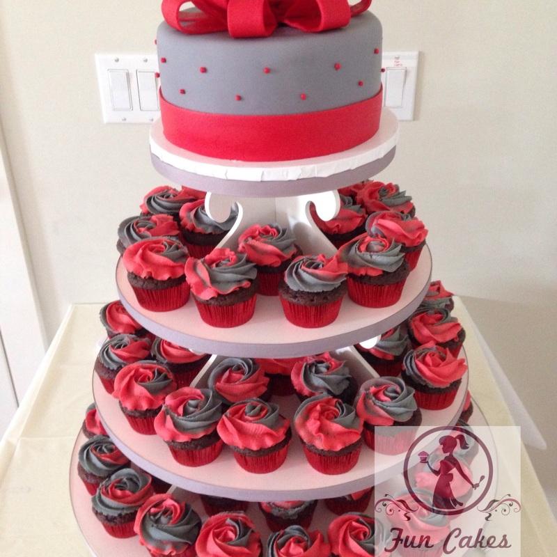 Item #3 White Cupcake/Cake Pop Tower $50