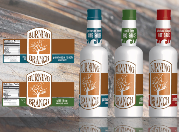 Burning Branch Sauces Packaging