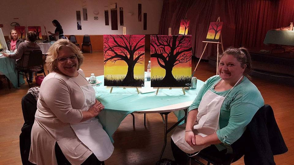 Every happy with their finished paintings! Paint night fundraiser 11/15
