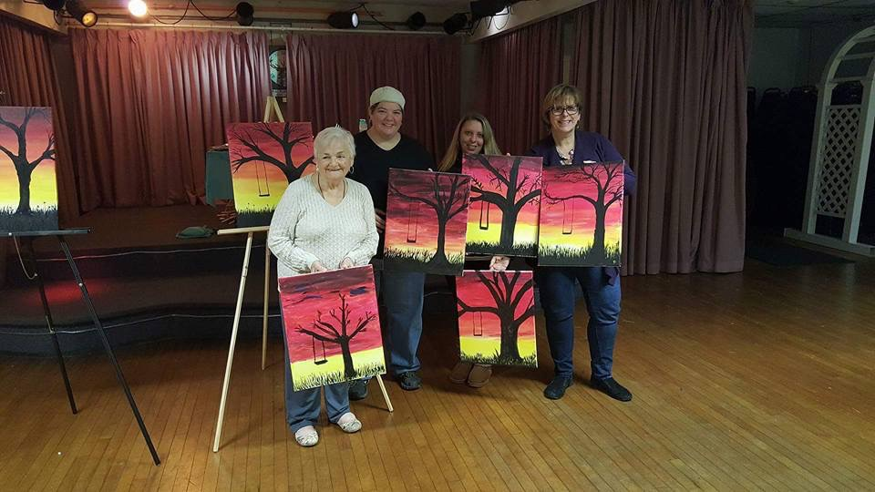 Showing off the finished products! Paint night fundraiser 11/15