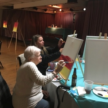Marge and Kristina at Paint night fundraiser 11/15