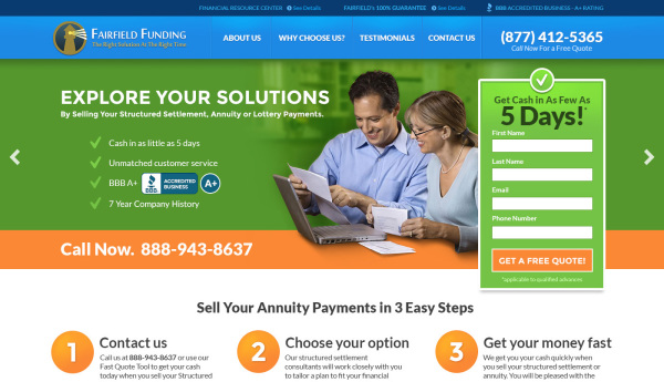 Fairfield Funding - Home Page Design
