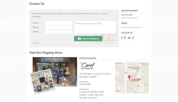 Carol & Company - Contact Page Design