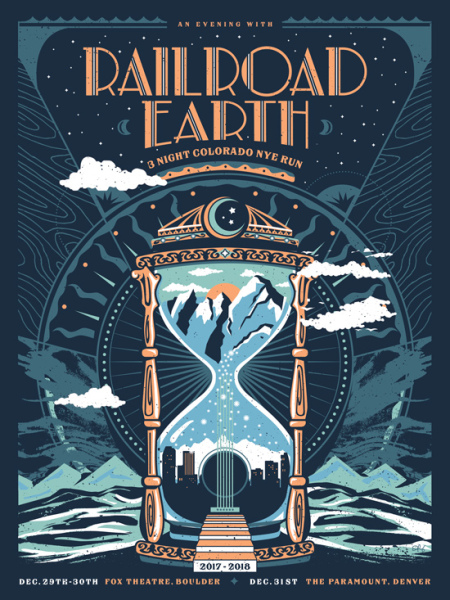 NYE gig poster - Railroad Earth by Derek Perez