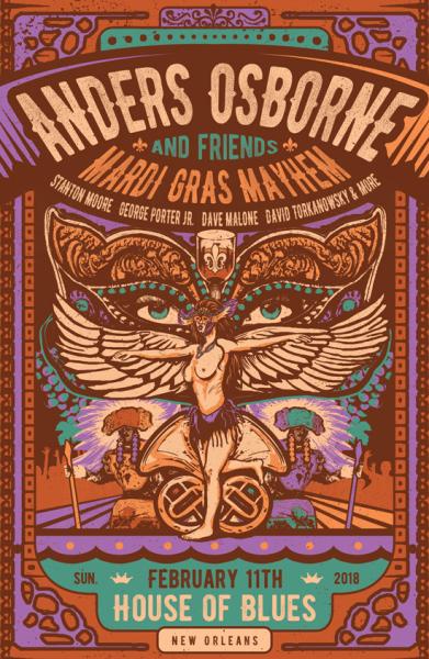 Anders Osborne Mardi Gras Poster