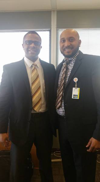 Jason Miller meeting with Dr. Hampton (Pastor of Light of the World Christian Church/ Deputy Mayor of Indianapolis)