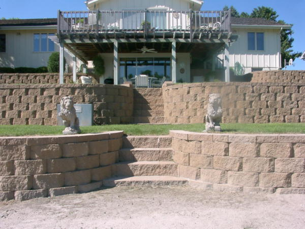 Retaining wall, concrete wall blocks, natural stone wall