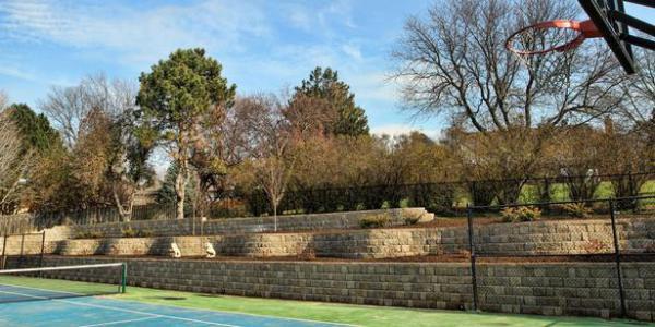 Retaining wall, concrete wall blocks, natural stone wall