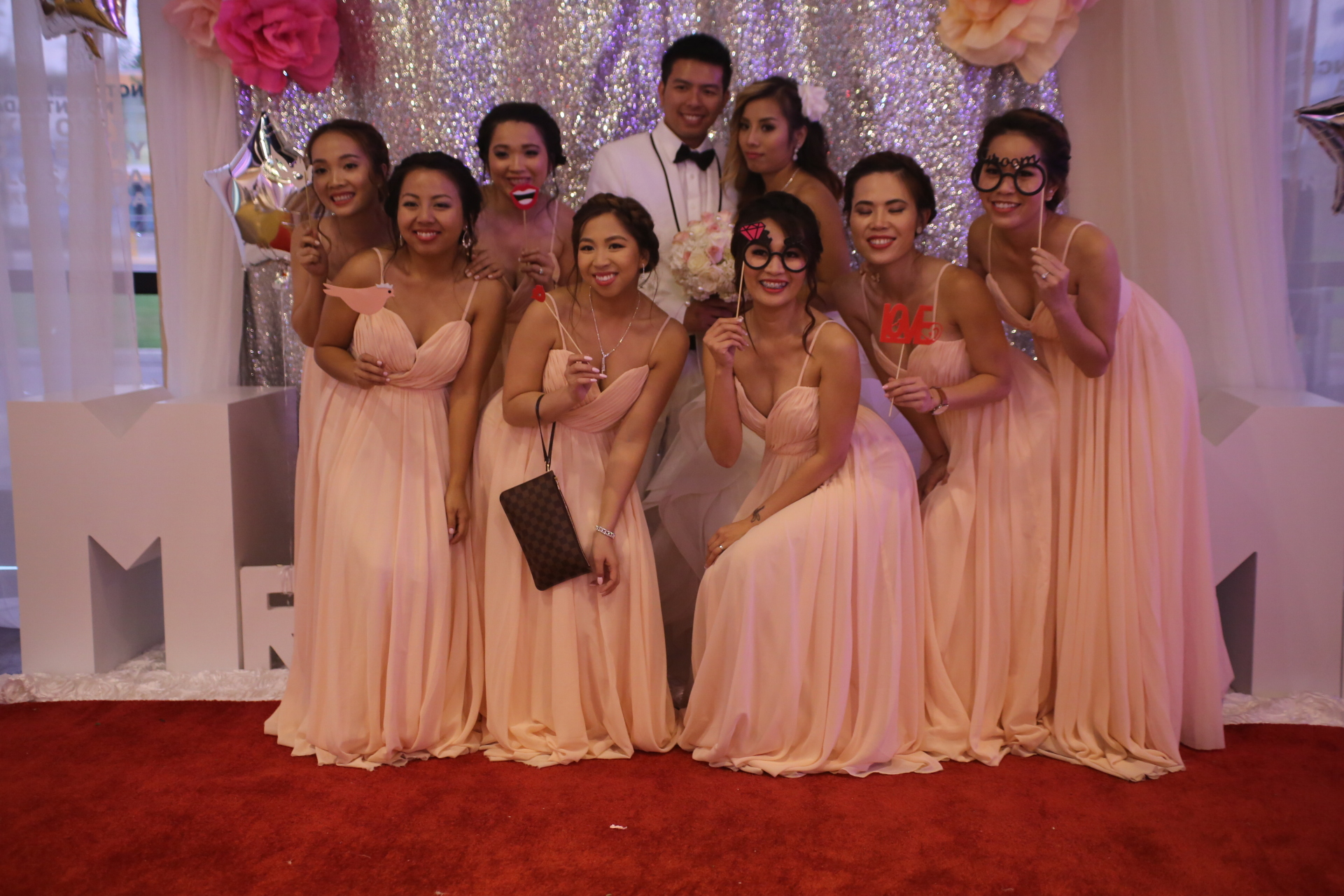 Bridesmaids, Groom and the Bride
