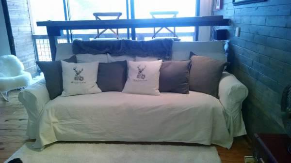 Love Child of Ikea's Ektorp Sofa and Leinsund Bed Slats