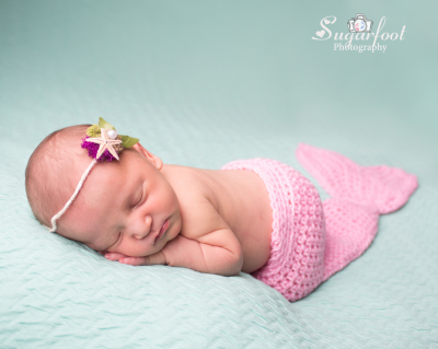 First Newborn of 2017, Little Mermaid, princess session