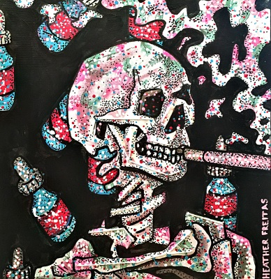 Vncent Van Gogh- Skull of a Skeleton with a Burning