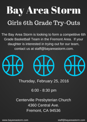 Bay Area Storm 6th Grade Girls Basketball Tryouts