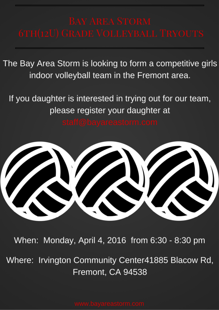 Bay Area Storm Girls 12U Volleyball Tryouts