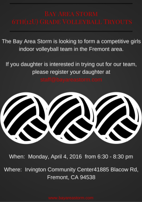 Bay Area Storm 6th Grade Girls Volleyball Tryouts