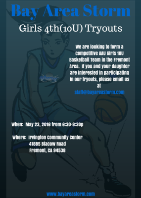 Bay Area Storm Girls 4th Grade(10U) Basketball Tryouts