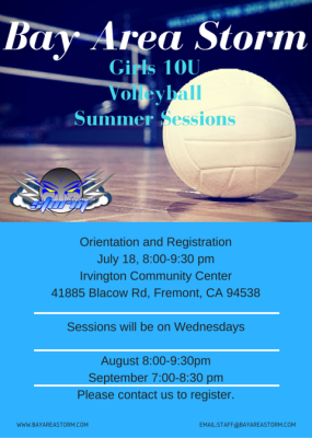 Bay Area Storm Volleyball Girls 10U Summer Sessions