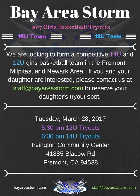 Bay Area Storm 2017 Girls 14U and 12U Basketball Tryouts are COMING!!!!