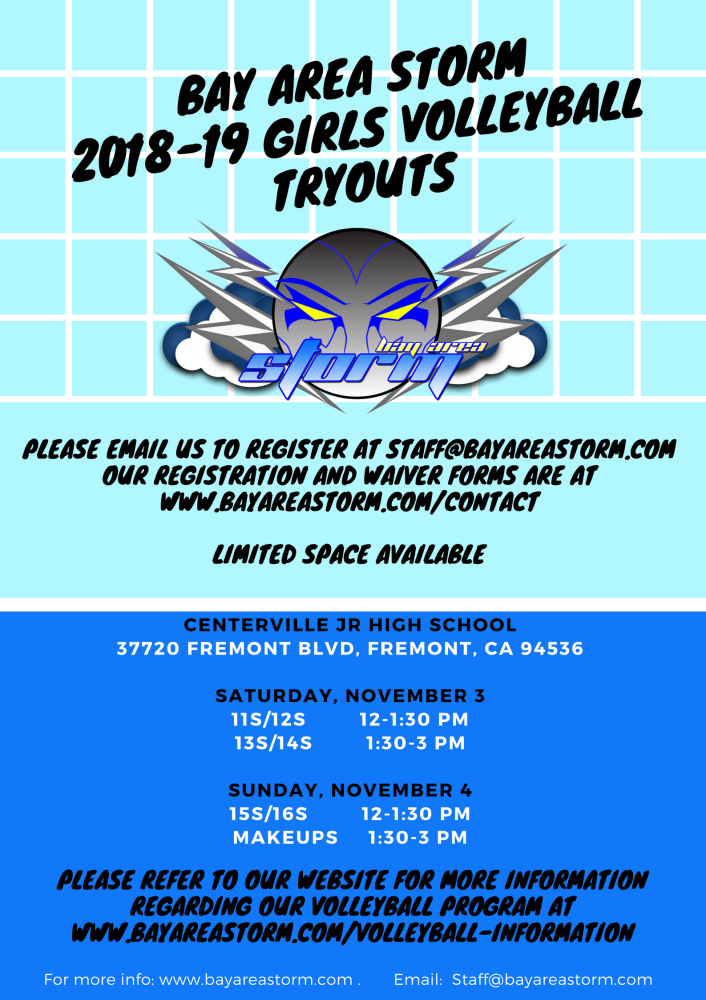 2018-19 Bay Area Storm Volleyball Tryouts