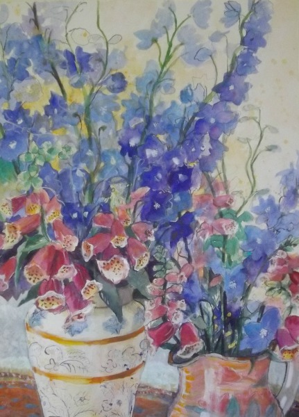 Foxgloves and Delphiniums By Elizabeth Martyn Artist Water Colour Art Classes