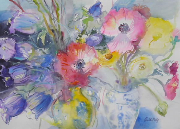 Anemonies and Canterbury Bells By Elizabeth Martyn Artist Water Colour Art Classes