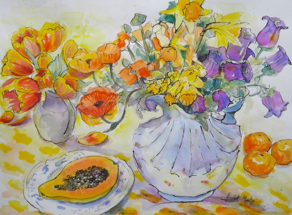 Juicy Paw Paw and Orange Flowers By Elizabeth Martyn Artist Water Colour Art Classes