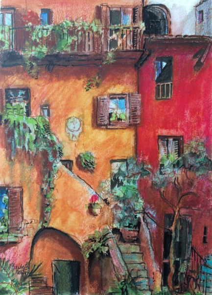 Courtyard Rome, Italy  By Elizabeth Martyn Artist Water Colour Art Classes