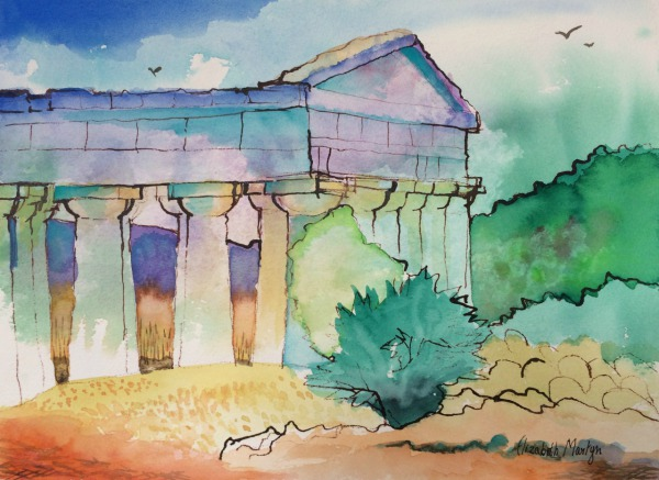 Temple at Segesta, Sicily By Elizabeth Martyn Artist Water Colour Art Classes
