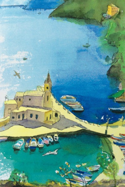The Old Port, Lipari Italy By Elizabeth Martyn Artist Water Colour Art Classes
