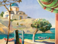 Blue-domed Chapel, Greek Islands (oil painting) By Elizabeth Martyn Artist Water Colour Art Classes