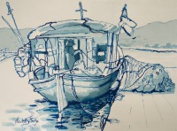 Fishing Boat, Leros Greece By Elizabeth Martyn Artist Water Colour Art Classes
