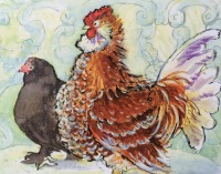Chickens by Elizabeth Martyn Artist Water Colour Art Classes
