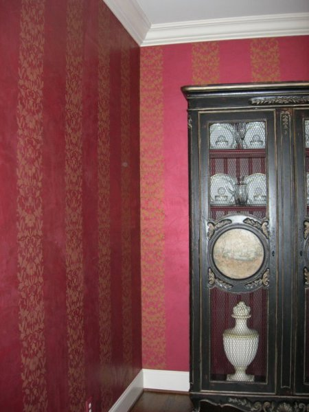 shimmered suede cabernet damask stripe formal dining room faux finish decorative paint raleigh