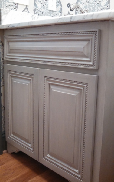 gray glazed powder room cabinet vanity painted  faux finish decorative paint raleigh