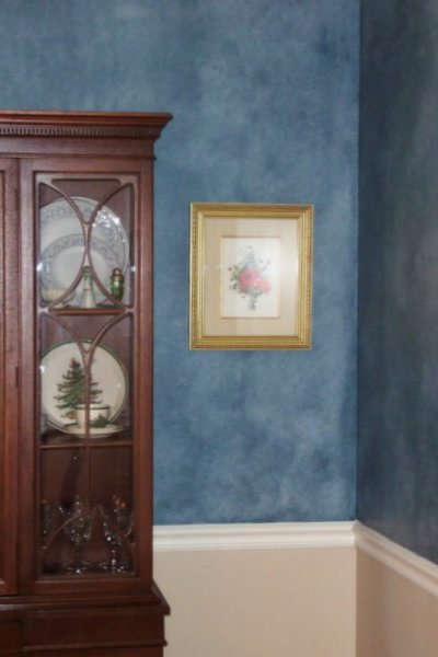 blue ragged off negative glazed wall dining room faux finish decorative painting raleigh