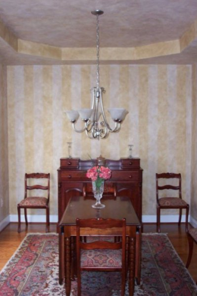 colorwashed stripes dining room tray ceiling coordinating yellow cary  faux finish decorative paint raleigh