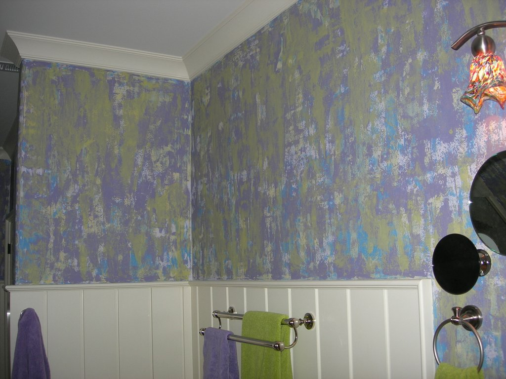 grafitti style layers of paint purple green yellow blue girls bathroom wakefieldfaux finish decorative paint raleigh