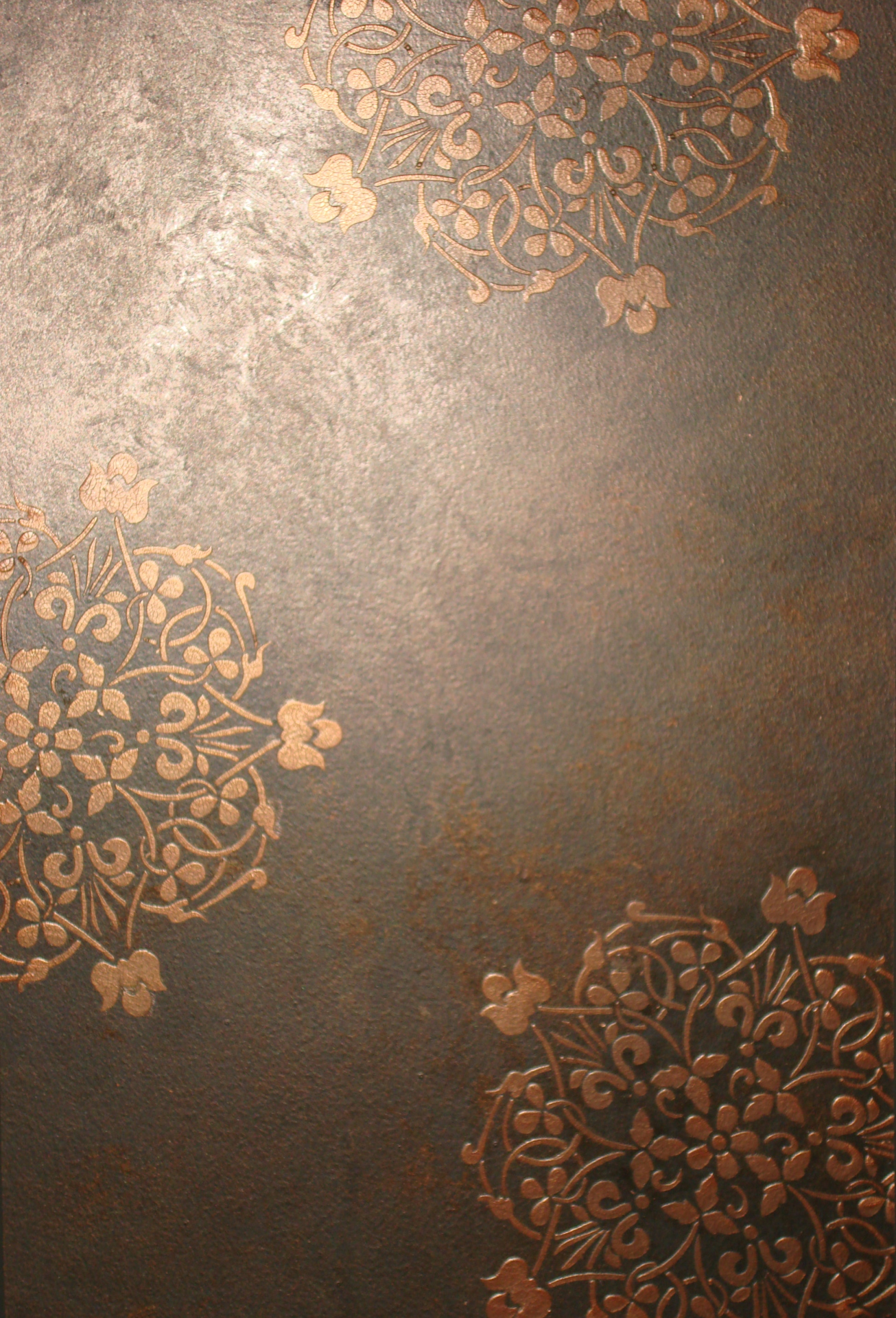 copper metallic glaze with crackle raised stencil proceed faux finish decorative paint raleigh