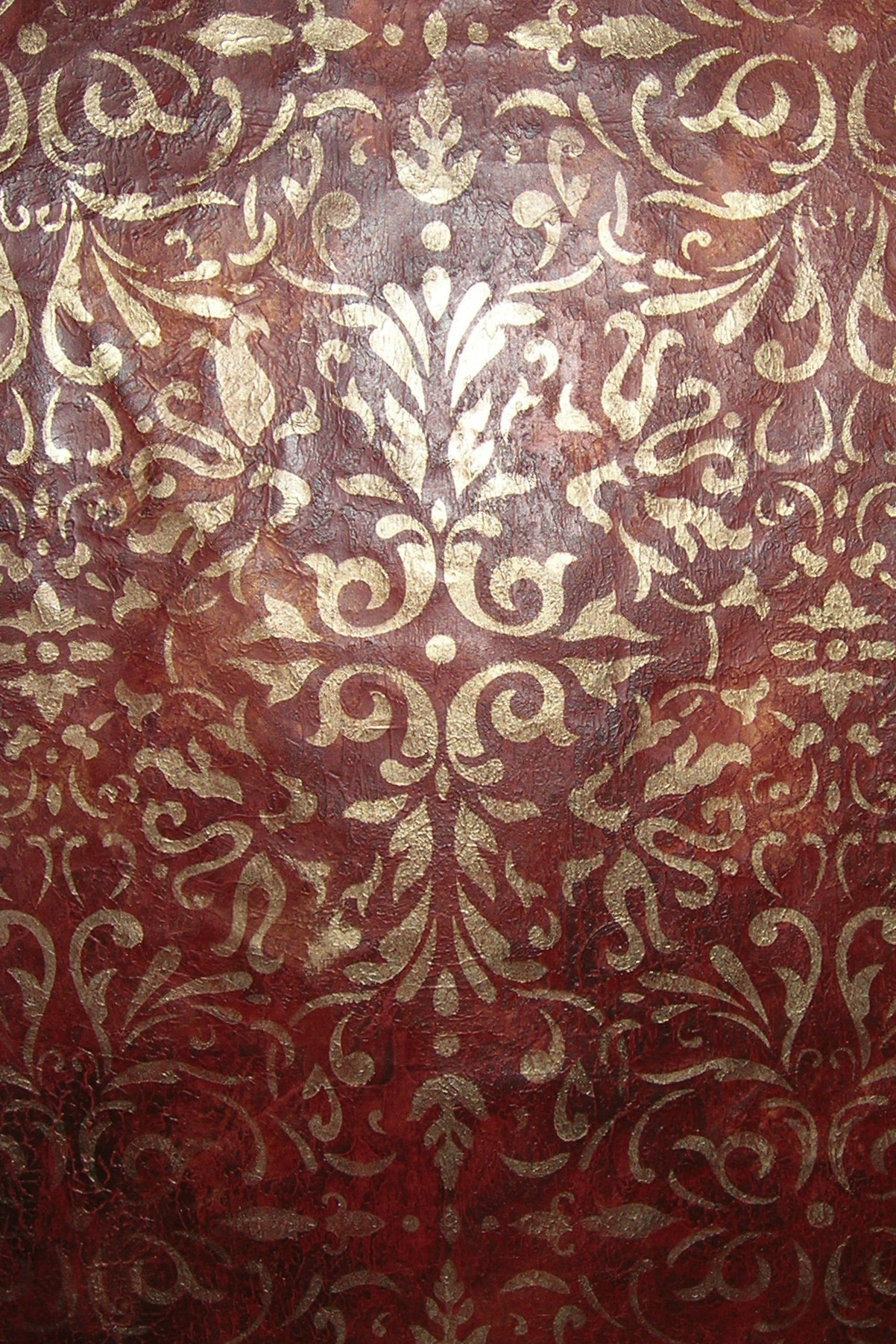 red leather texture allover stencil gold wallovers sarabeth's scroll faux finish decorative paint raleigh